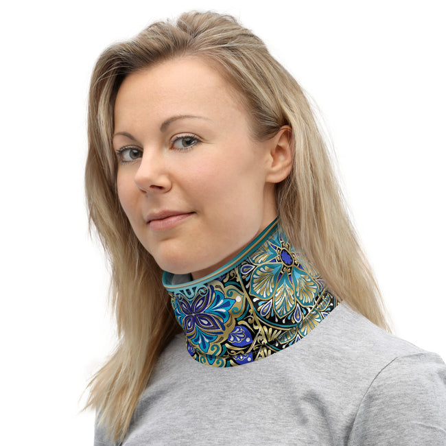 Zentangle Mandala Neck Gaiter (2 Colors), Moroccan Print Mask, PF - 11272
