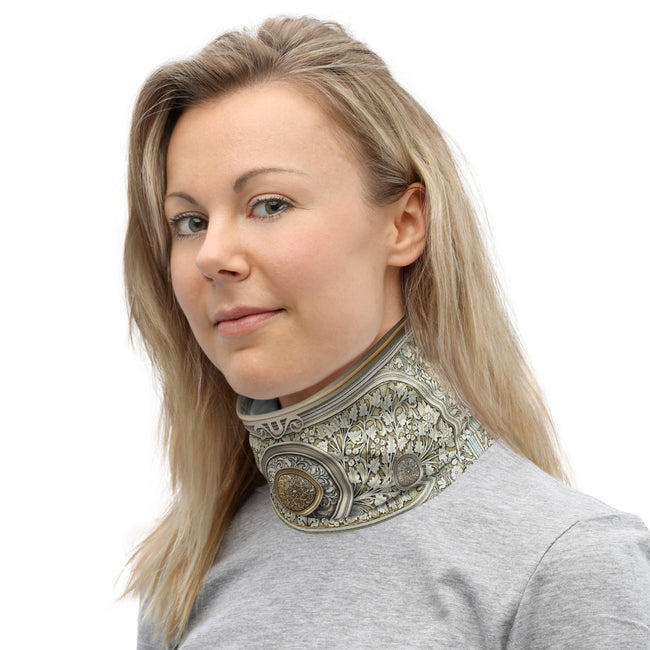 Baroque Decorative Shield Print Neck Gaiter, Reusable Face Mask, Fabric Face Cover/Neck Tube, PF - 11282