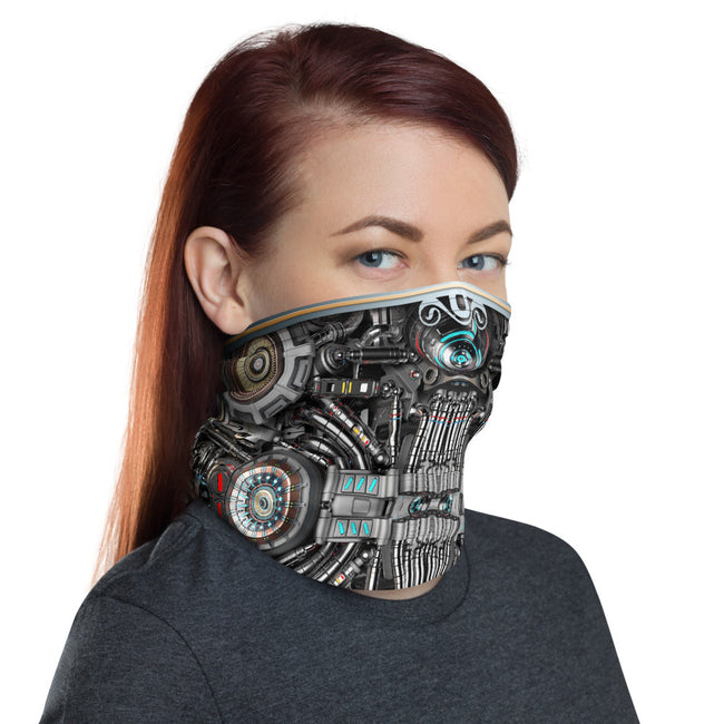 Mechanical Cyberpunk Printed Neck Gaiter, Fabric Face Mask, PF - 11365