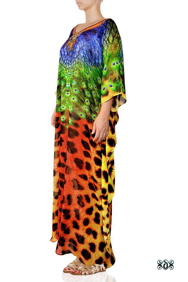 Devarshy Designer Luxury Animal Print Cheetah Peacock Long Embellished Kaftan , Apparel - DEVARSHY, DEVARSHY  - 2
