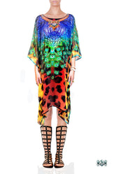 NATURE MORTE Cheetah Peacock Pure Silk Devarshy Short Embellished Kaftan