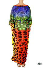 Devarshy Designer Luxury Animal Print Cheetah Peacock Long Embellished Kaftan , Apparel - DEVARSHY, DEVARSHY  - 3