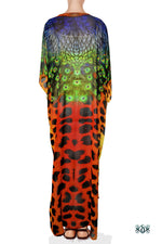 NATURE MORTE Cheetah Peacock Devarshy Long Georgette Kimono Jacket
