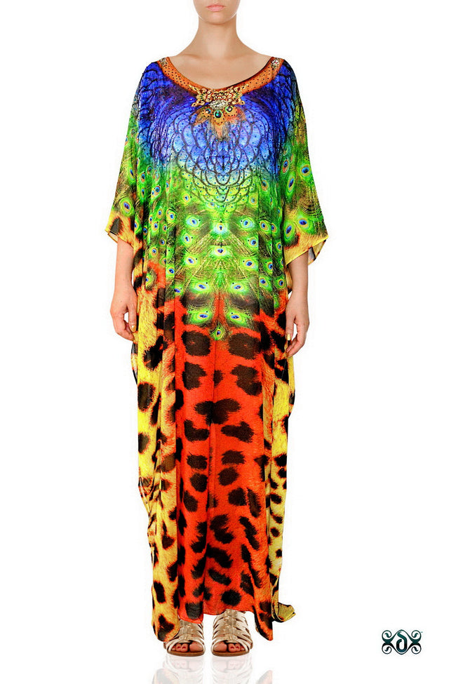 Devarshy Designer Luxury Animal Print Cheetah Peacock Long Embellished Kaftan , Apparel - DEVARSHY, DEVARSHY  - 1