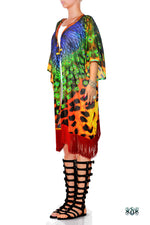 NATURE MORTE Cheetah Peacock Devarshy Short Georgette Kimono Jacket