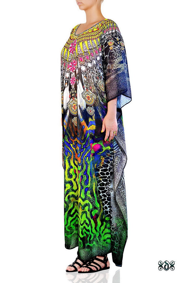 Devarshy Digital Print SBD Classic Long Embellished Animal print Kaftan Dress - 002A , Apparel - DEVARSHY, DEVARSHY  - 2