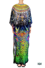 Devarshy Digital Print SBD Classic Long Embellished Animal print Kaftan Dress - 002A , Apparel - DEVARSHY, DEVARSHY  - 3