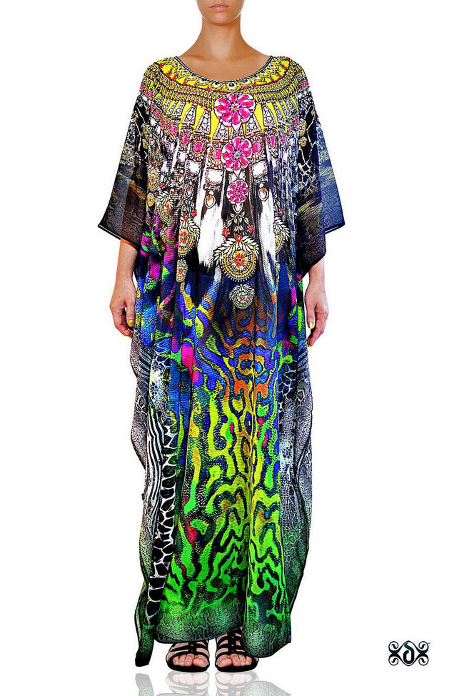 Devarshy Digital Print SBD Classic Long Embellished Animal print Kaftan Dress - 002A , Apparel - DEVARSHY, DEVARSHY  - 1