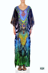 NATURE MORTE Exotic Snake Print Devarshy Long Embellished Kaftan - 003A