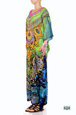 Devarshy Digital Print SBD Elegant Green Animal Print Embellished Long Kaftan - 004A , Apparel - DEVARSHY, DEVARSHY  - 2