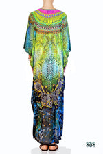 Devarshy Digital Print SBD Elegant Green Animal Print Embellished Long Kaftan - 004A , Apparel - DEVARSHY, DEVARSHY  - 3