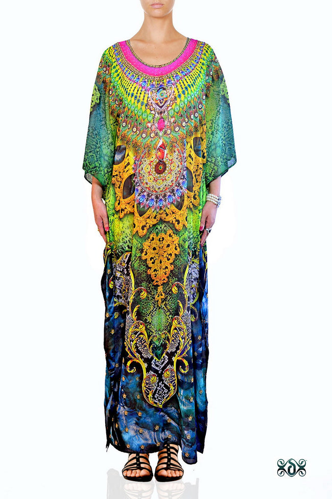 Devarshy Digital Print SBD Elegant Green Animal Print Embellished Long Kaftan - 004A , Apparel - DEVARSHY, DEVARSHY  - 1
