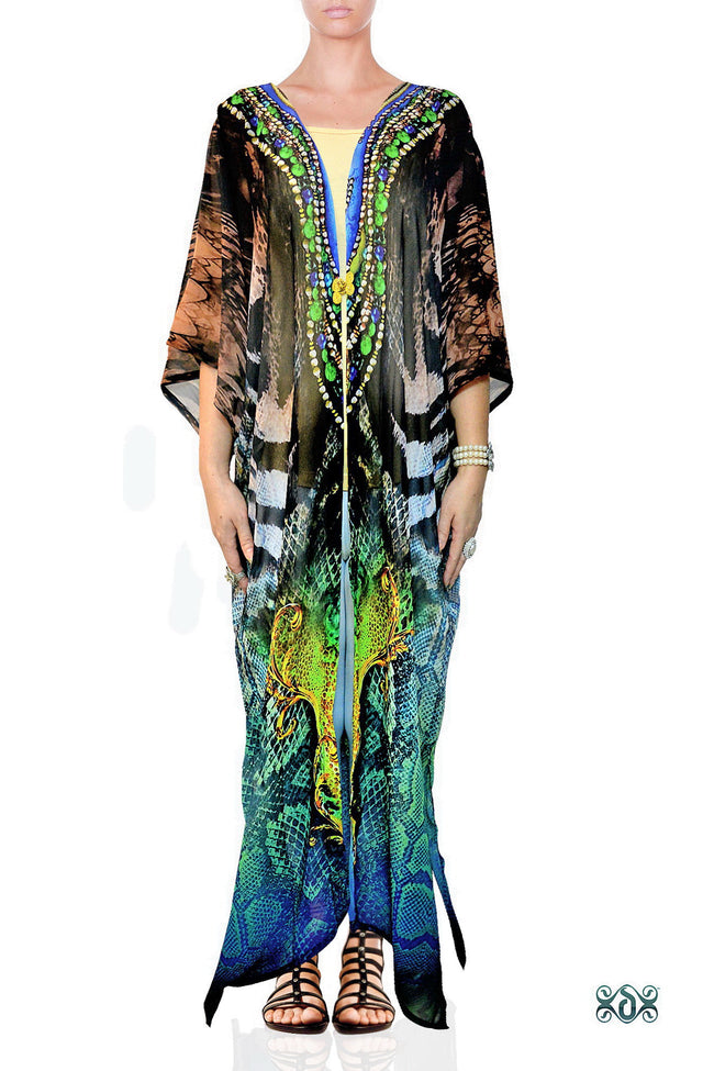 NATURE MORTE Exotic Snake Prints Devarshy Long Georgette Kimono Jacket - 003A