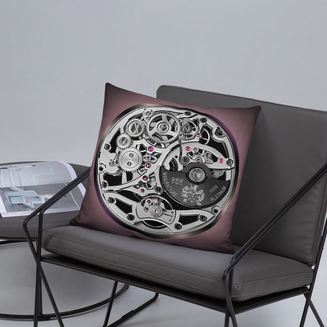 Devarshy HOROLOGY Platinum Instrument Printed Square Pillow 18 Inch PF - 108C2