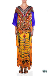 INDICA MAGNIFICA Majestic Yellow Adorned Devarshy Long Embellished Kaftan - YellowPurp