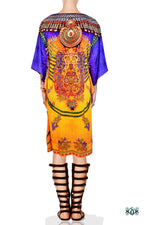 Devarshy Designer Majestic Decorative Short Embellished Kaftan - Yellow Purple , Apparel - DEVARSHY, DEVARSHY  - 3