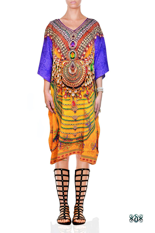 Devarshy Designer Majestic Decorative Short Embellished Kaftan - Yellow Purple , Apparel - DEVARSHY, DEVARSHY  - 1