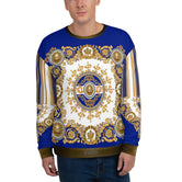 ROCOCO Ornate Blue Unisex Sweatshirt For Winter Wear, PF - 0017