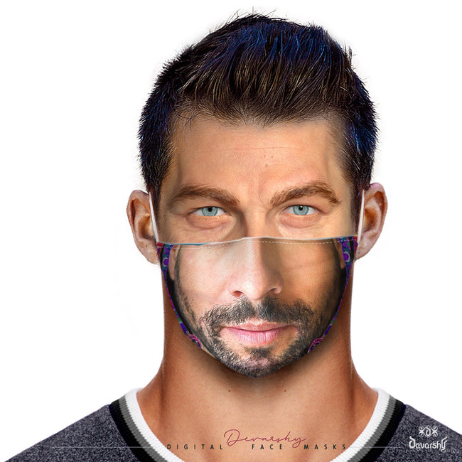 Realistic Stubble Man Face Mask With Filter And Nose Wires - 11113