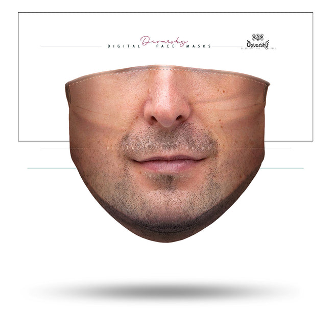Caucasian Man Selfie Face Mask With Filter And Nose Wires - 11115