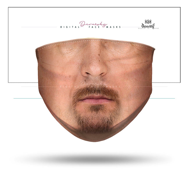 French Beard Man Selfie Face Mask With Filter And Nose Wires  - 11116