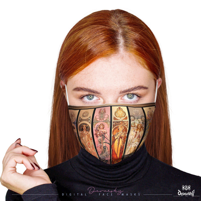 MUCHAS GRACIAS Art Nouveau Face Mask With Filter And Nose Wires - 11168