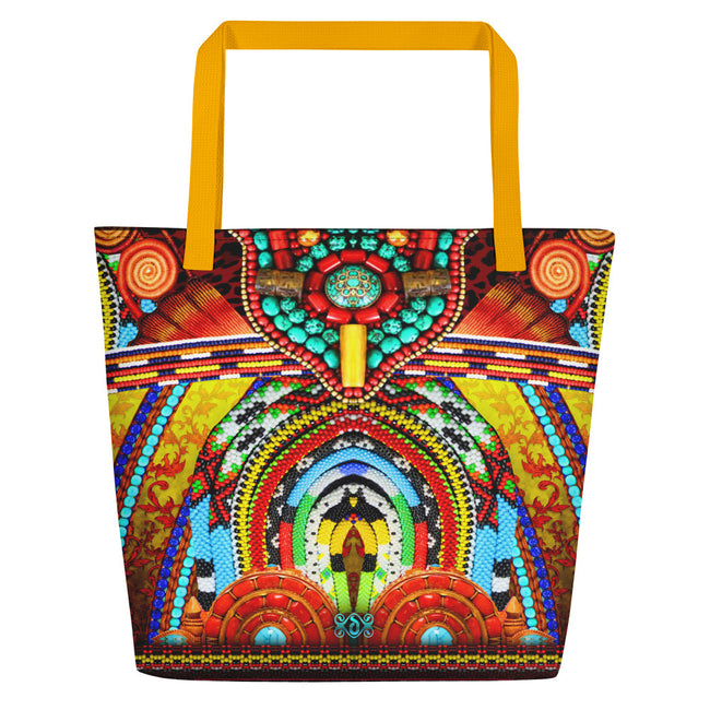 MAASAI-ENGAI Radiant Decorated Beads Devarshy Canvas Beach Bag PF -1073C