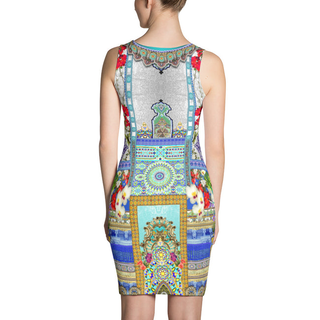 Beautiful Aqua Fez Printed Bodycon Dress, Spandex Sheath Dress, Devarshy Dress,  PF - FIFTY002