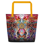 Royal Baroque Printed Beach Bag, Ladies Handbag, Canvas Beach Bag, Devarshy Bag, PF - 1053A