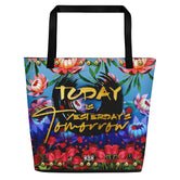 Devarshy Today Is Tomorrow's Yesterday Florals Printed Canvas Beach Bag PF - TODAY02