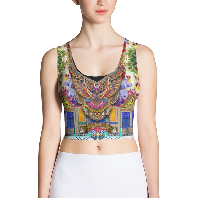 NATURE MORTE Radiant Florals Devarshy Fitted Spandex Crop Top - 001