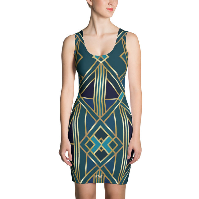 Reflective Turquoise Spandex Dress, Printed Bodycon Dress, Devarshy Sheath Dress, PF - 7764B