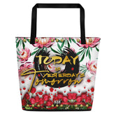 Devarshy Today Is Tomorrow's Yesterday Printed Canvas Handy Beach Bag PF - TODAY01