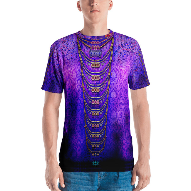 INDICA MAGNIFICA Purple Decorated Pearls Devarshy Printed Men's T-Shirt PF