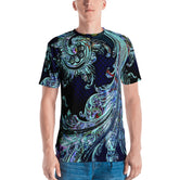 Blue Terrestrial Waves Men's T-Shirt, Men Crew Neck Cotton Jersey, Devarshy T-Shirt, PF - 1114A2