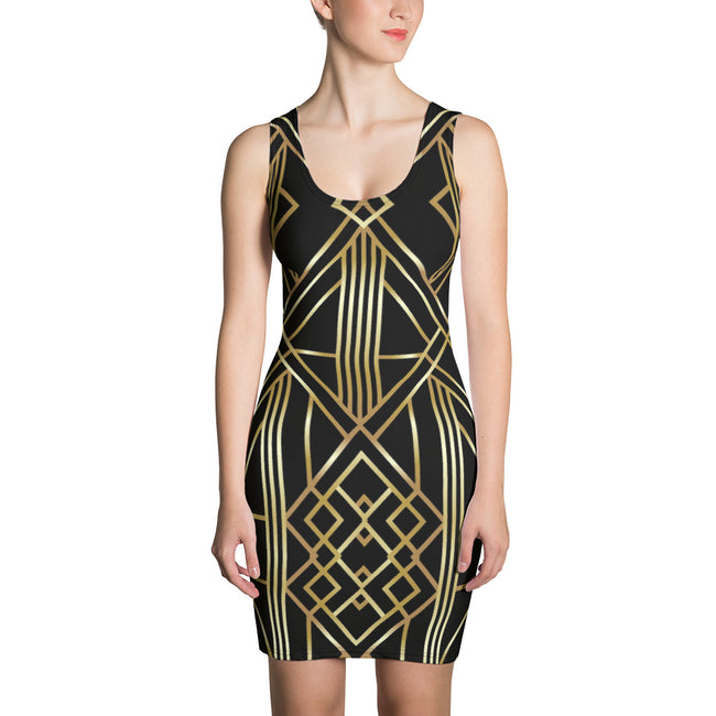 Devarshy AURUM 79 Golden Triangles Printed Spandex Black Bodycon Dress PF - BLACK
