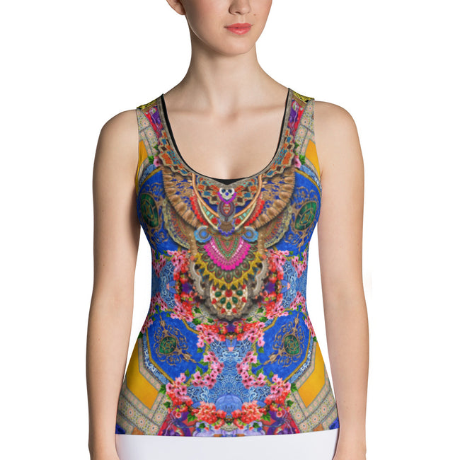 NATURE MORTE Decorated Florals Devarshy Women Lycra Tank Top PF - FIFTY001B