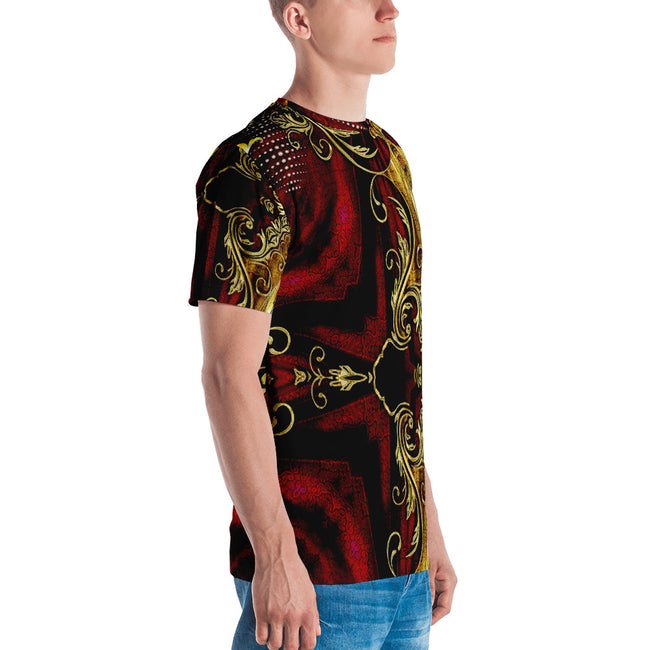 AURUM 79 Asymmetrical Royal Red Devarshy Printed Men's T-Shirt PF - 1105C2