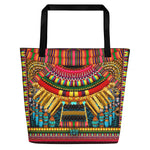 MAASAI-ENGAI Green Tribal Ornate Devarshy Handy Canvas Beach Bag -1072C