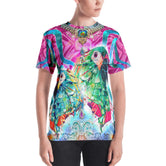 PHOENIXOLOGY Pink Decorated Birds Devarshy Printed Women's T-Shirt PF - 1022B