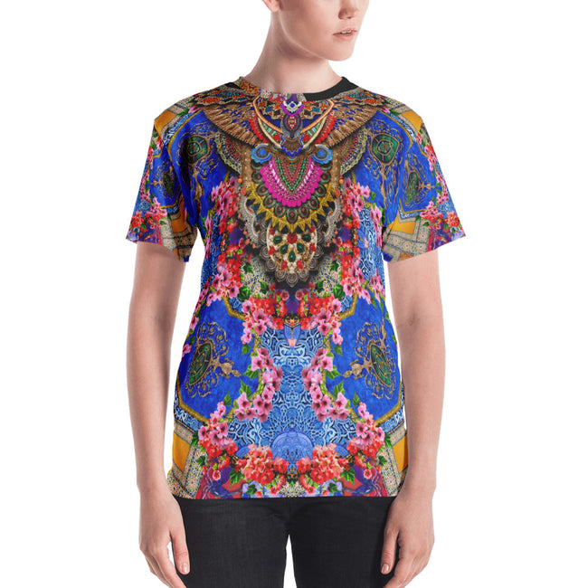 Decorated Floral Print Women's T-Shirt, Animal Print Crew-Neck T-Shirt, Devarshy T-Shirt, PF - 001B