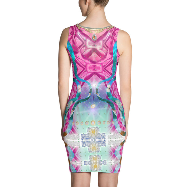 Devarshy Pink Satin Illusion Printed Spandex Sleeveless Bodycon Dress, PF - 1022B