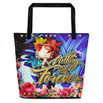 Devarshy Nothing Last Forever Roses & Skull Blue Printed Canvas Beach Bag PF - NLF01