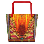 NATURE MORTE Majestic Yellow Animal Print Devarshy Canvas Beach Bag PF - 1092A