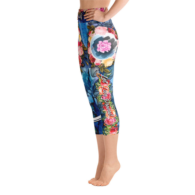 Blue Floral Printed YOGA Capri, Let Love Prevail Capris, Spandex YOGA Capri Leggings, Devarshy Leggings, PF
