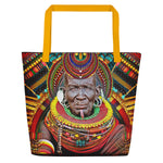 MAASAI-ENGAI Decorated Tribal Chief Devarshy Printed Beach Bag PF - 1073C2