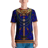 Blue Kundan Adorned Men's Printed T-Shirt, PF - BlueOrange