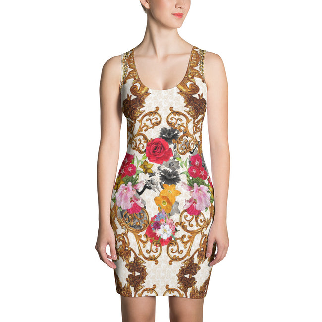 Luxury Golden Baroque Dress, Floral Bodycon Dress, Sleeveless Sheath Dress, Devarshy Dress, PF - RB007