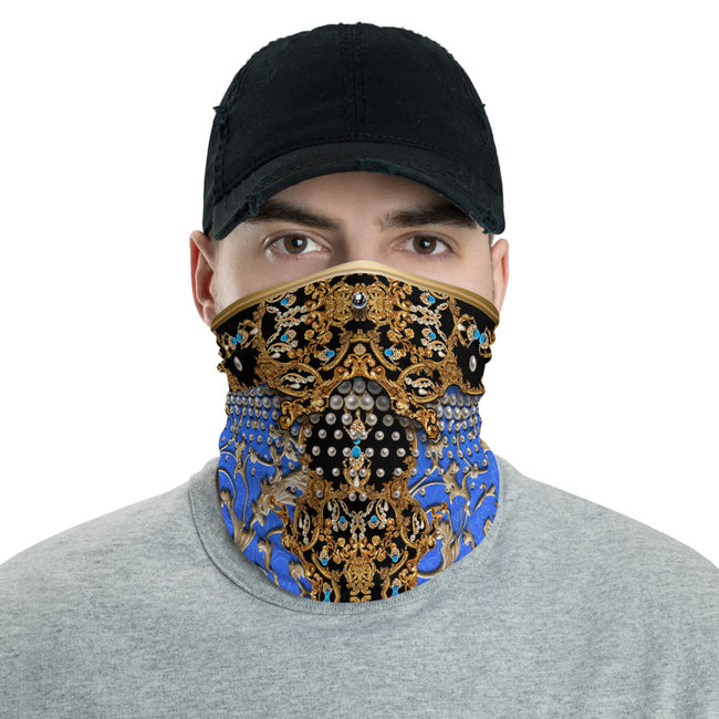 White Blue And Pink Baroque Neck Gaiter, Protective Cloth Face Mask For Unisex Neck Tube, PF - 11159