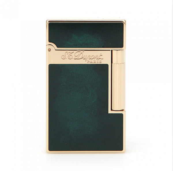 S.T. Dupont ATELIER YELLOW GOLD FINISH EMERALD GREEN NATURAL LACQUER LIGNE 2 LIGHTER 016259
